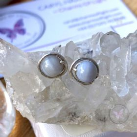 Blue Lace Agate Silver Wire Wrap Stud Earrings